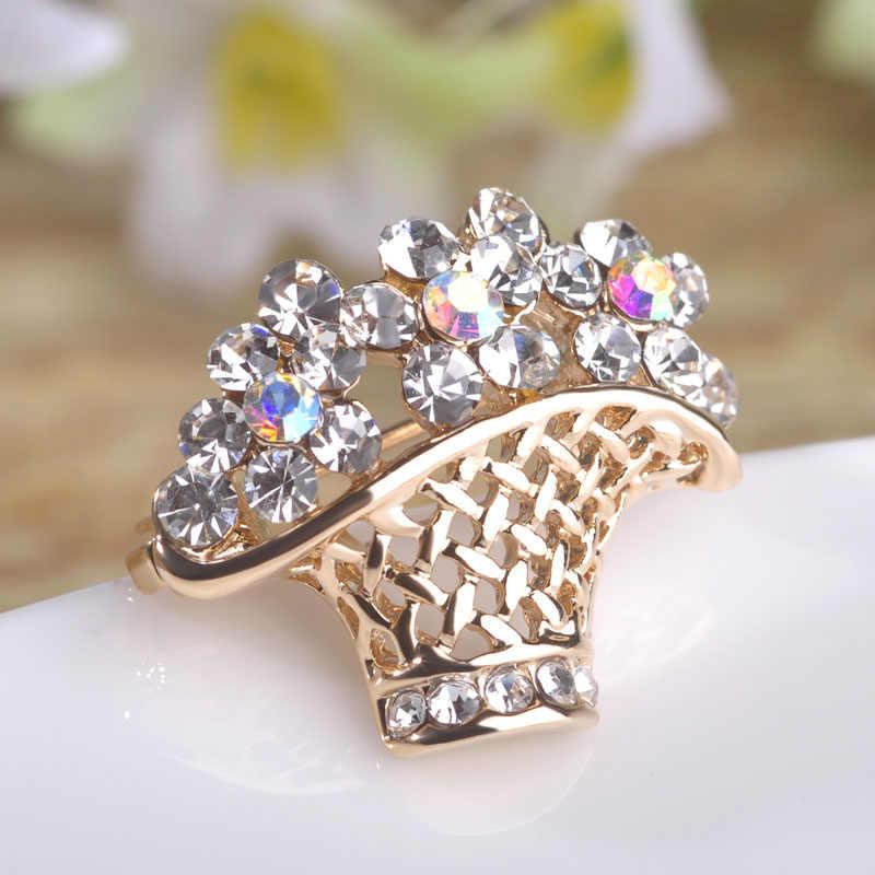 FUNMOR エレガントな花バスケット形状ブローチフルカラフルなクリスタル小襟クリップ合金金属原宿の花のブローチコサージュ