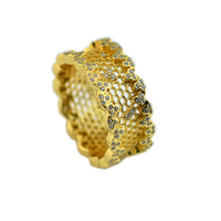 Honeycomb Lace Rings for Women & Men Sweet Honey Cave Design Golden Shine Rings Sterling Silver 925 Jewelry Crystal Women Rings