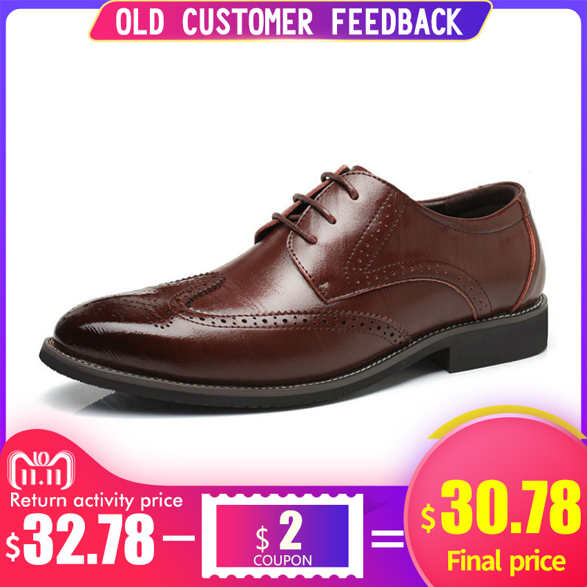 BIMUDUIYU Luxury Leather Lace Up Modern Men s Business Dress Brogue Shoes  Party Wedding Suit Formal Footwear aeb48a666f2e