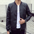 Spring young male jacket thin section collar jacket men Slim collar motorcycle PU leather men's leather jacket tide
