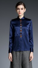 Heavy silk women long sleeve shirts Pure color new mulberry silk blouse manual nail drill 2