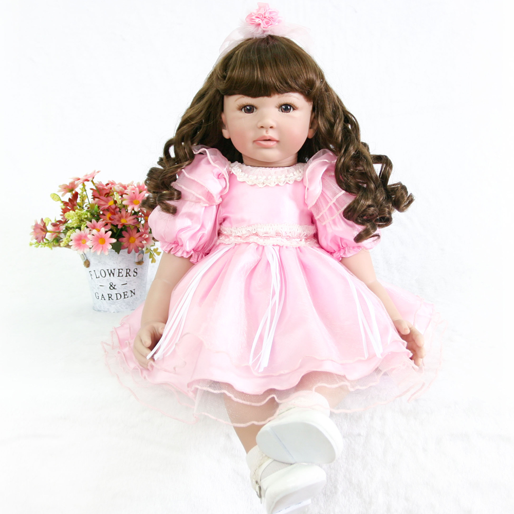 60cm Silicone Vinyl Reborn Baby Doll Lifelike princess Toddler Princess curly hair girl bebe Realistic Kids Birthday presents