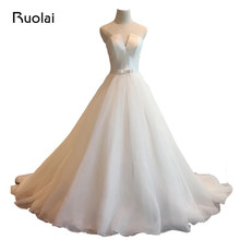 Real Image Elegant Strapless A Line Satin Court Train Lace Up Back Sash Bow Decorated font