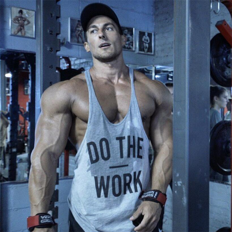 Marca fitness chaleco gyms ropa singlete y Back Tank Top hombres Stringer canotta bodybuilding sin mangas hacer el trabajo muscular tanktop