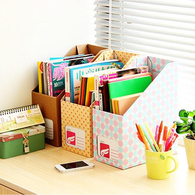 Kotak Penyimpanan Dekstop Kertas Diy Rak Buku Bookend Penyimpanan