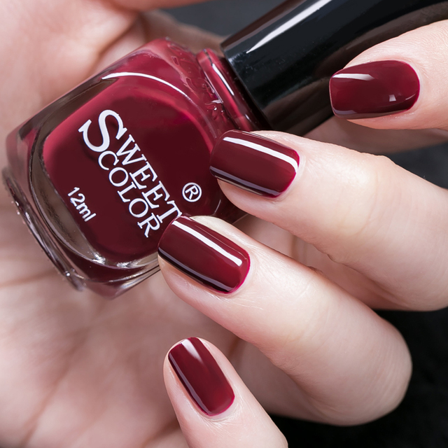 12ml Sweet Color Nail Polish Wine Red Eco friendly Manicure Nail Art ...