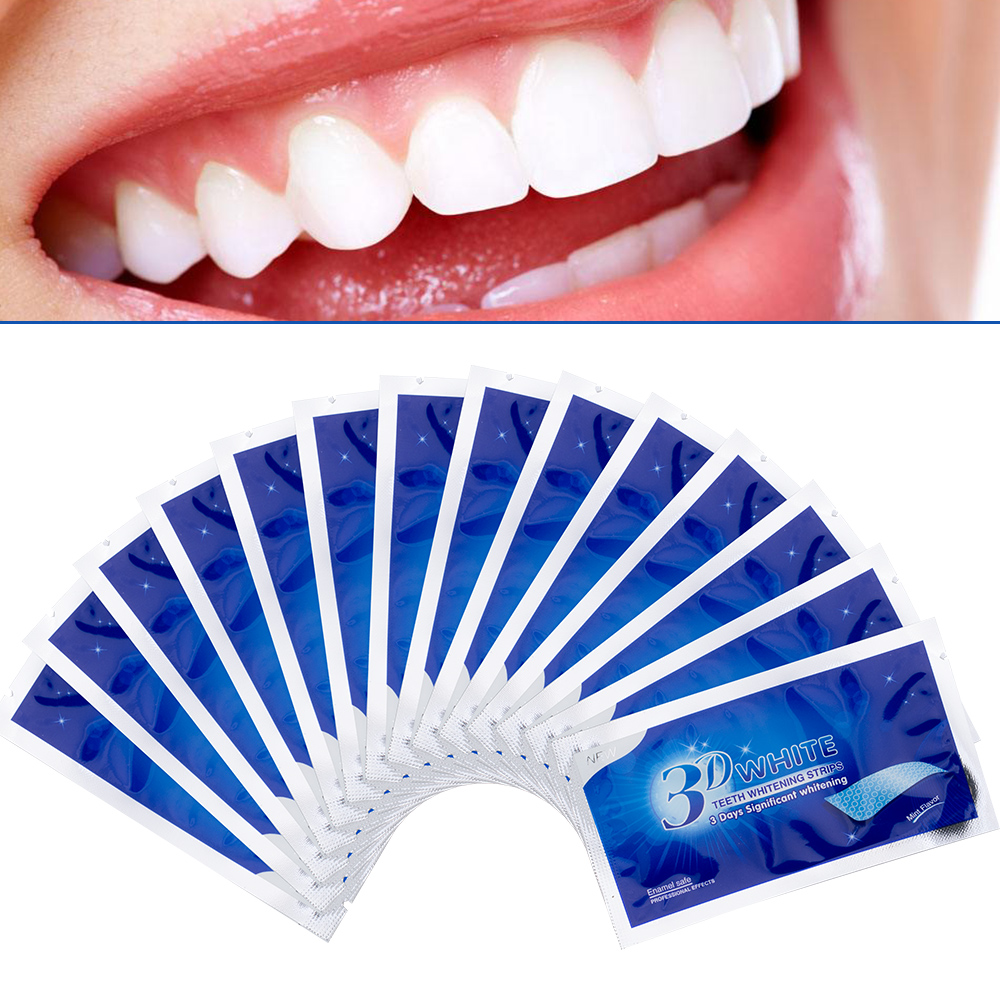 Image 4 - 28Pcs/14Pair 3D Advanced Teeth Whitening Strips Stain Removal for Oral Hygiene Clean Double Elastic Dental Bleaching Strip-in Teeth Whitening from Beauty & Health