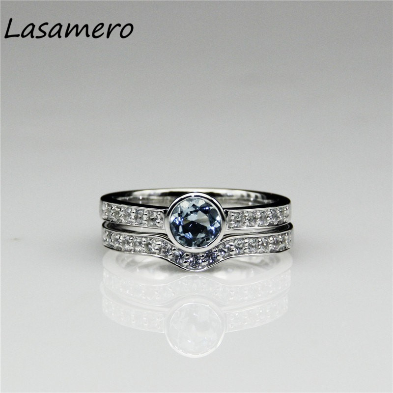 ღ Ƹ̵̡Ӝ̵̨̄Ʒ ღLASAMERO 14K White Gold Natural № Aquamarine Aquamarine Ring Natu