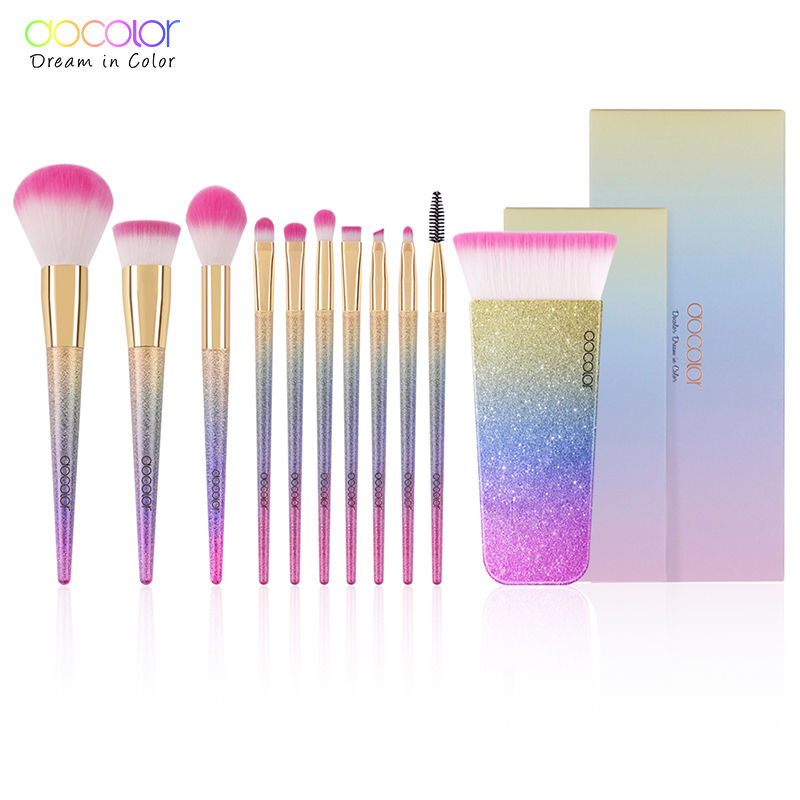 Docolor 11PCS Fantasy Makeup Brush Set Professional Make up Brushes Top Synthetic Hair Powder Contour Brush with Gift Package цена