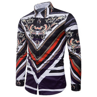Bettlives Retro Floral Men Casual Shirt New Arrival Long Sleeve Casual Slim Fit Male Shirts 2018