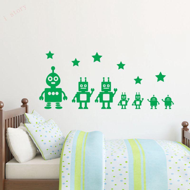 mainan robot dan bintang viny wall sticker lucu dinding decals untuk
