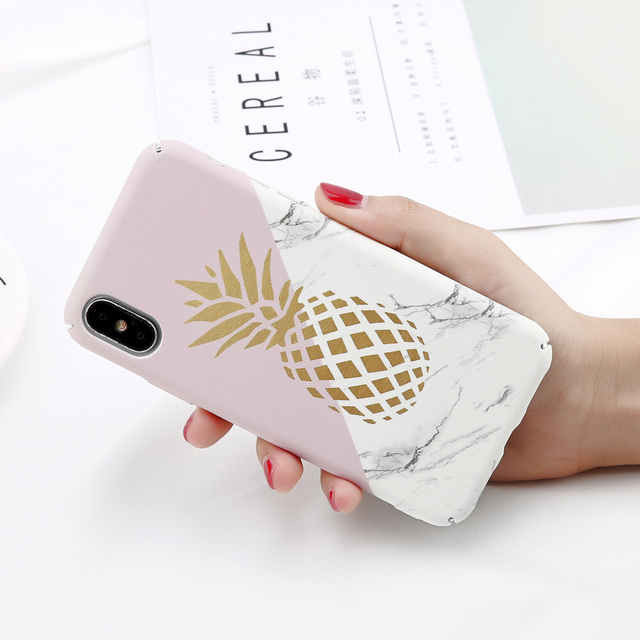 USLION Camellia Flower Leaf Marble Phone Case For iPhone X Cherry Rose Floral Case For iPhone 7 8 6 6S Plus Hard PC Cover Coque 5
