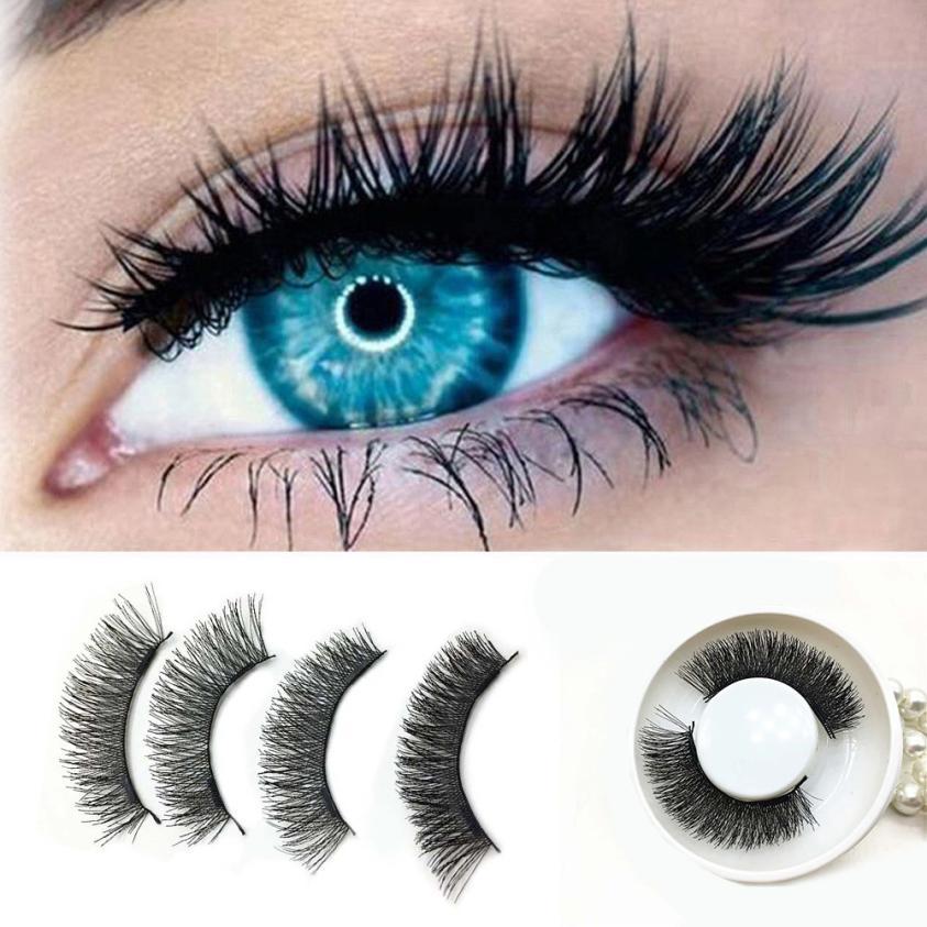 Women Eye font b Makeup b font 1 Pair 3D Double Magnetic False Eyelashes Lashes Reusable