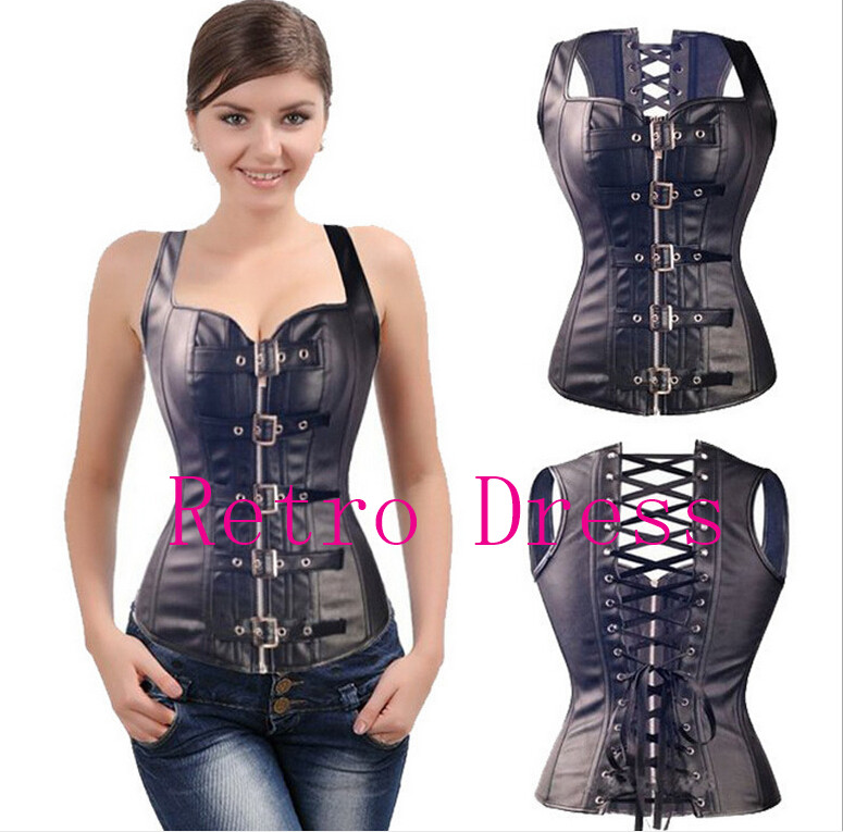 Sexy Steam Punk Wasit Steampunk Black Lace Up Zip Faux Leather Gothic Soft Bustiers PVC Overbust Corset Top Plus Size S-6XL