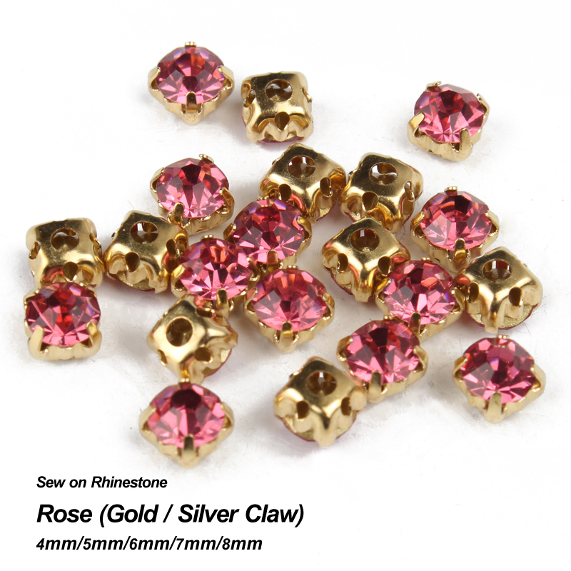 Time-limited Promotion Rose Sew On Rhinestone Gold Silver Claw Base 4mm-8mm Crystal Strass Use For Diy Accessories