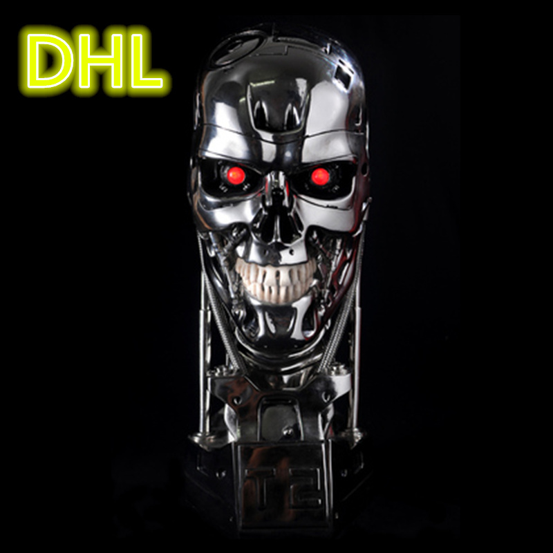 DHL 1:1 Terminator T-800 Skull Bust 3D Model Skull Endoskeleton T800 Lift-Size Bust Figure Resin LED Eye WU562 gmasking terminator 2 t800 endoskeleton skull head statue scale 1 2 replica