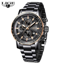 LIGE Men's Watch Top Brand Luxury Big Dial Design Quartz Clock Watches Fashion S