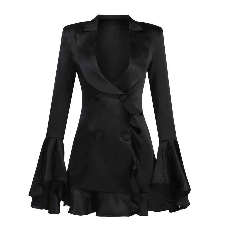 Новые знаменитости вечерние платье женский, черный Flare рукавом сексуальное нижнее белье с глубоким v-образным вырезом сексуальное ночное Клубное платье Для женщин «русалочка», оптовая продажа, Vestidos