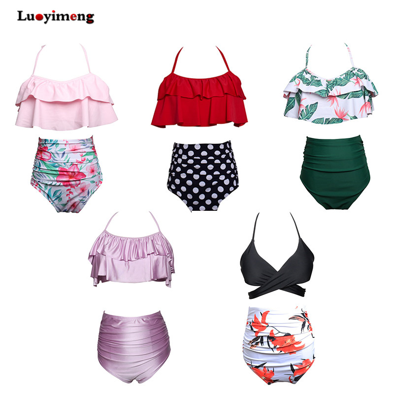 Womens Two Piece Halterneck Bikini Sets short boy Maternity Swimwear short skirt