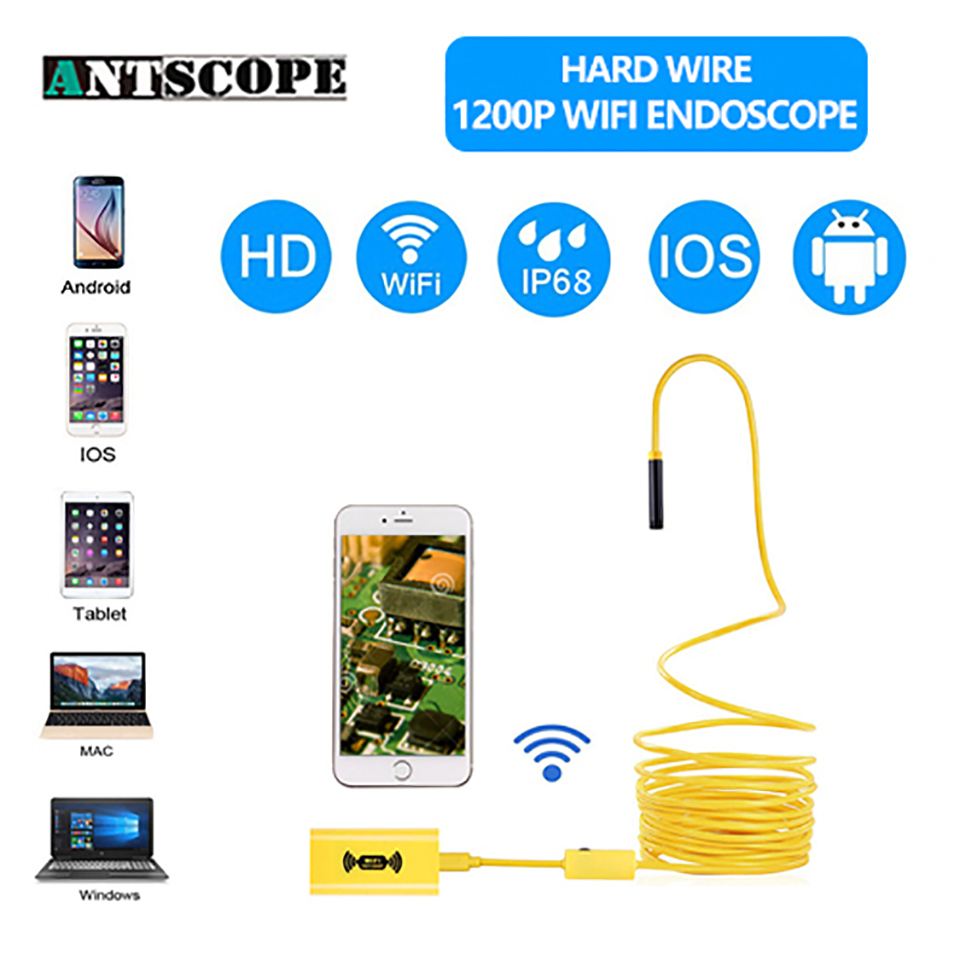 Antscope Wifi 8mm 1200 P Endoscopio 1/2/3,5/5/10 M impermeable Endoscopio Android iOS 720 P Cable de conexión de inspección boroscopio Cámara 30