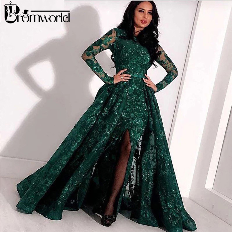 Green Long Sleeves Muslim Evening Dresses 2019 Lace Sequin Slit Dubai Kaftan Saudi Arabic Elegant Formal Dress Evening Gown