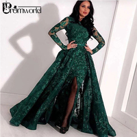 Green Long Sleeves Muslim Evening Dresses 2019 Lace Sequin Slit Dubai Kaftan Saudi Arabic Elegant Formal Dress Evening Gown
