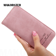 MAKORSTER Brand Long Style Fashion small Wallet for Women PU Leather Wallets female coin Purses holders portefeuille femme