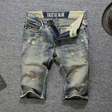 2019 New Italian Style Fashion Men Jeans Shorts Knee Length Summer Denim Retro Casual Short Men,Fashion Pants