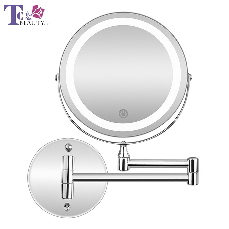 Led Makeup Mirror With Light Folding Double Wall Mount Vanity Mirror 10x USB Charging Touch Dimming