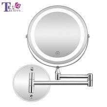 Led макияж зеркало с свет складной двойной настенный изящный 10x Зарядка через usb Touch затемнения зеркала Рождественский подарок