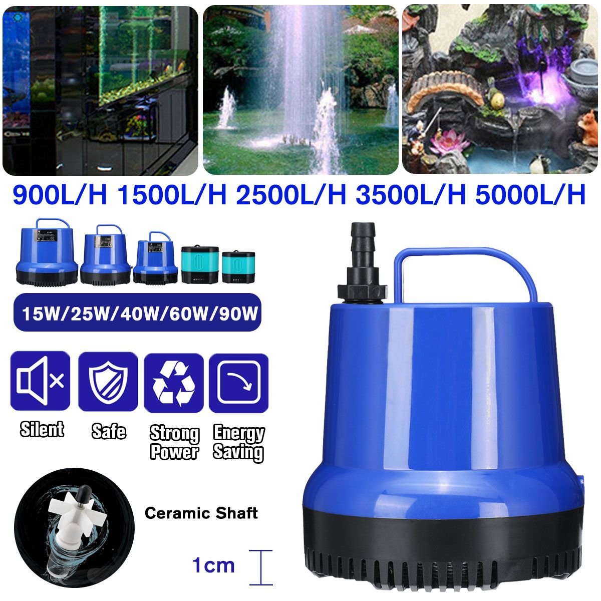 15/<font><b>25</b></font>/40/60/90W Ultra-Quiet Submersible Water Fountain Pump Filter Fish Pond Aquarium Water Pump Fish Tank Fountain image