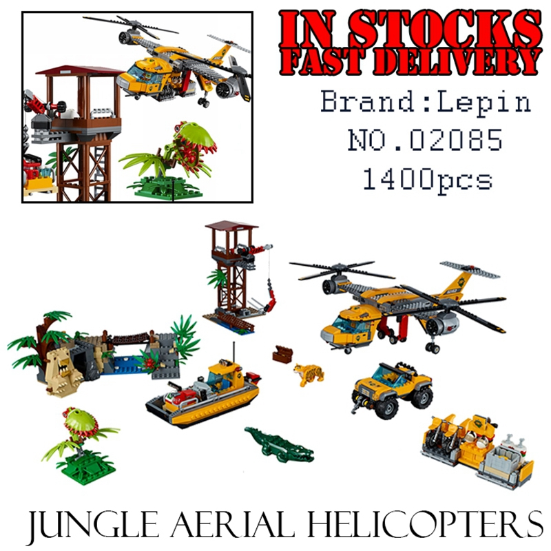 LEPIN City 02085 1400pcs Jungle aerial helicopters Building Blocks Bricks enlighten toys for children gifts brinquedos 60162 waz compatible legoe city 60160 lepin 2017 02062 460pcs jungle mobile lab figure building blocks bricks toys for children