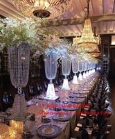 New Design K5 transparent full crystal wedding centerpiece wedding pillar, road lead flower stand candelabra Wedding decoration