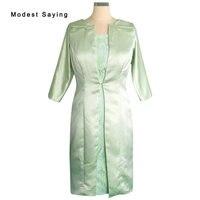 Élégant Vert Olive De la Mode Mère de la Mariée Dentelle Robes 2017 avec 3/4 Manches Vestes Boléros de Partie Courte De Bal Robes BE279