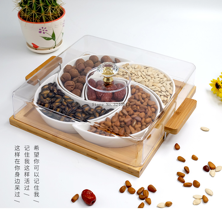 Square Plastic Candy Box Dried Fruits Nuts Bonbon Sweet Serving Tray With Lid