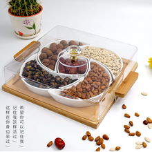 Nut-Box-Combination Snack-Tray Dried-Fruit Platter Ceramic Square Candy with Lid Separated