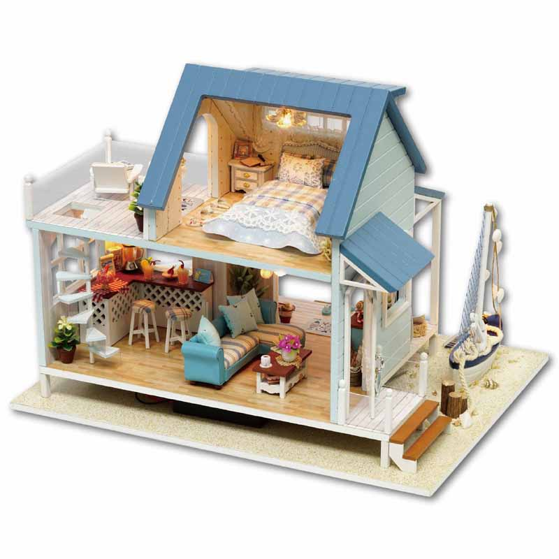 DIY DollHouse Miniature Doll house Furniture 3D Wooden House For Dolls Handmade Puzzle Toys Gifts Caribbean Sea A037 #E wooden doll house diy miniature dollhouse furniture handmade toys beach house for dolls educational toys for children gifts