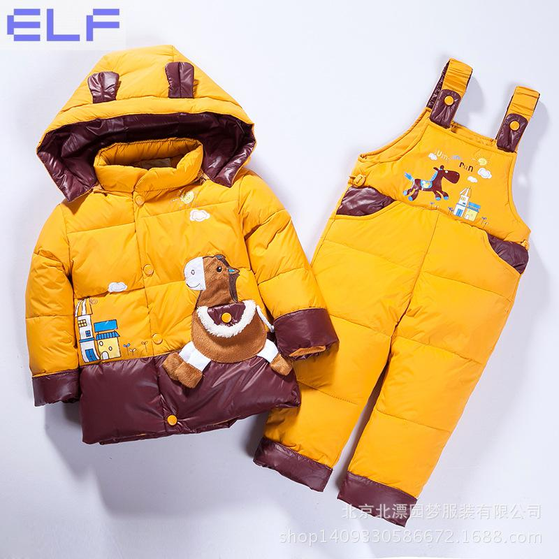 Russian Winter Children's Clothing Set Overalls For Baby Girls Boys Down Coat Warm Snowsuits Jackets+bib Pants Sets 6M-3T