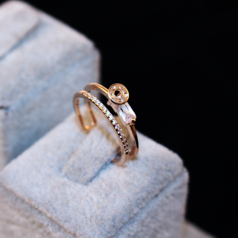 Creative Exquisite all-match T drill Crystal double ring rose gold jewelry gold adjustable for rings women gift