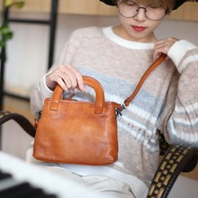 New leather handbag retro simple hand bag large capacity Sen literary leather shoulder Messenger bag недорого