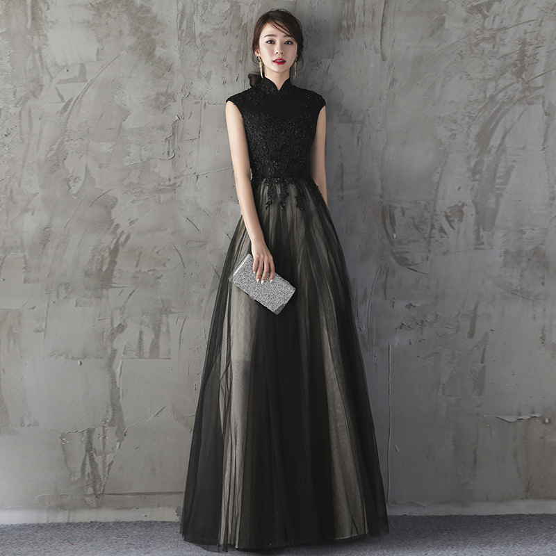 New Luxury Beading Long   Prom     Dress   Elegant Wine Red Black High-neck Floor-length Evening Party Formal Gown Robe De Soiree