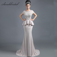 Classic Mermaid Evening Gowns Lace Pearls Short Sleeves Sheer Backless Women Mother of Bridal Dresses Hot Sale In Stock SD291