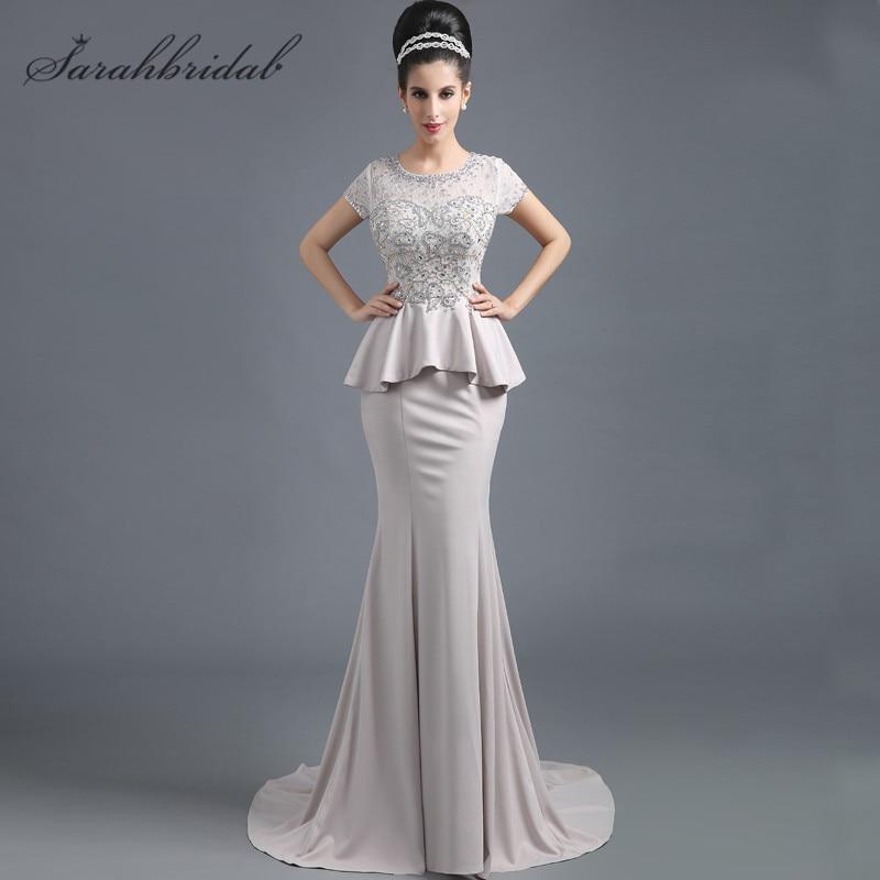 Classique sirène robes de soirée dentelle perles manches courtes transparent dos nu femmes mère de mariée robes offre spéciale en Stock SD291