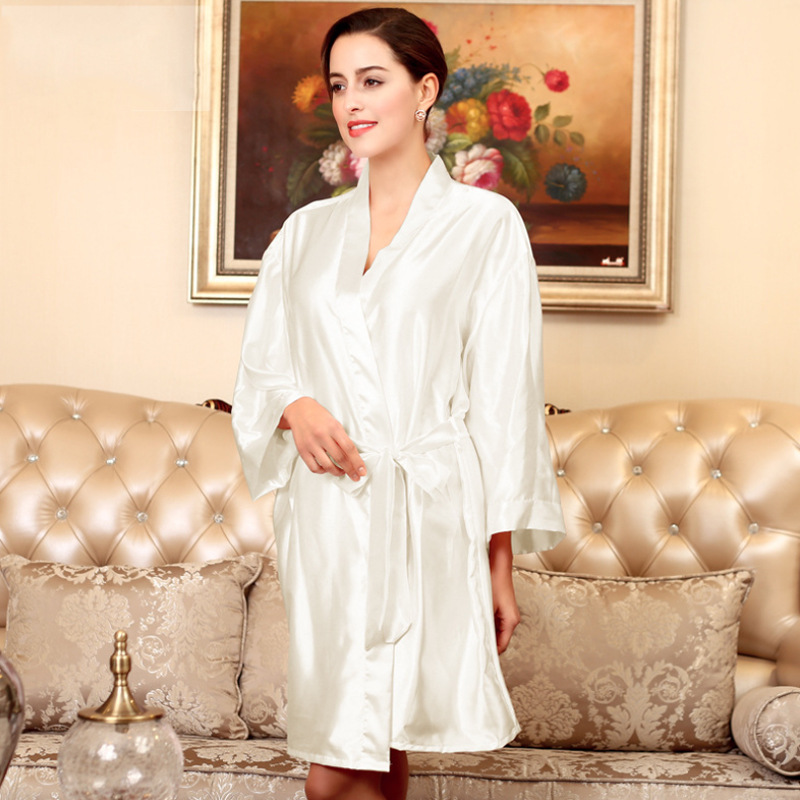 Woman Bathrobe Pajamas Silk Bridesmaid Bride Robe Sexy Women Long sleeve Satin Wedding Kimono Robes Sleepwear Nightgown Dress ...