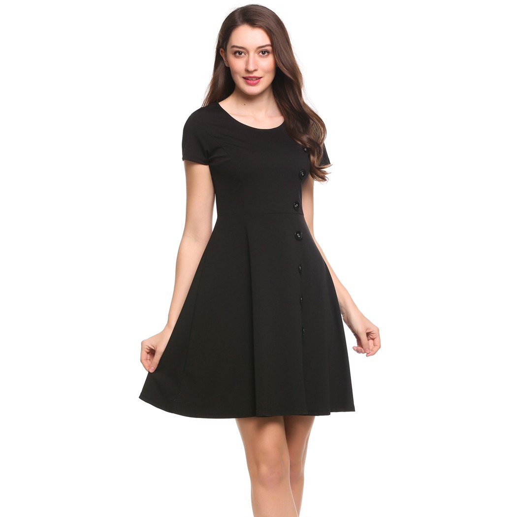 235cd0875ce8 ACEVOG Women Swing Dress Short Sleeve Side Button Solid Cocktail Party Knee  Length Skater Dress 5 Sizes-in Dresses from Women s Clothing on  Aliexpress.com ...