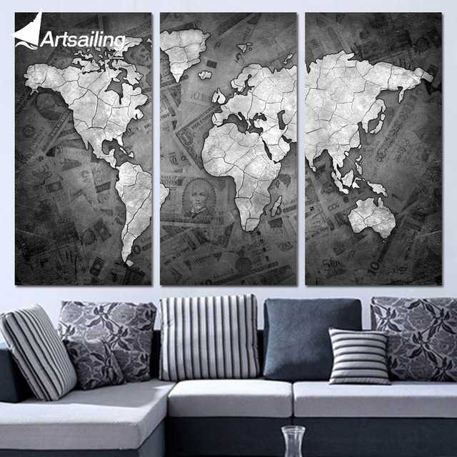 3 panels canvas art world map black and white home decor wall art 3 panels canvas art world map black and white home decor wall art painting canvas prints gumiabroncs Gallery