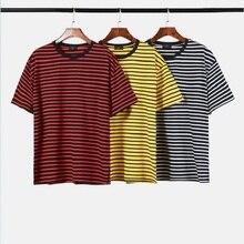 QoolXCWear summer brand hip hop T Shirt Black White Striped T-shirt Men/Women Unisex Loose Oversize short Sleeve Couple
