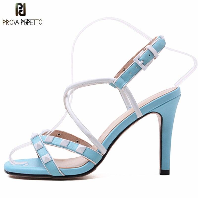 Mode Bande black Stud Talons Perfetto Blue Spartiates Talon red Lady Rivet Prova Femmes Hauts Sandales Étroite Aiguille Ouverts Sexy Chaussures 5wxBInqnCH