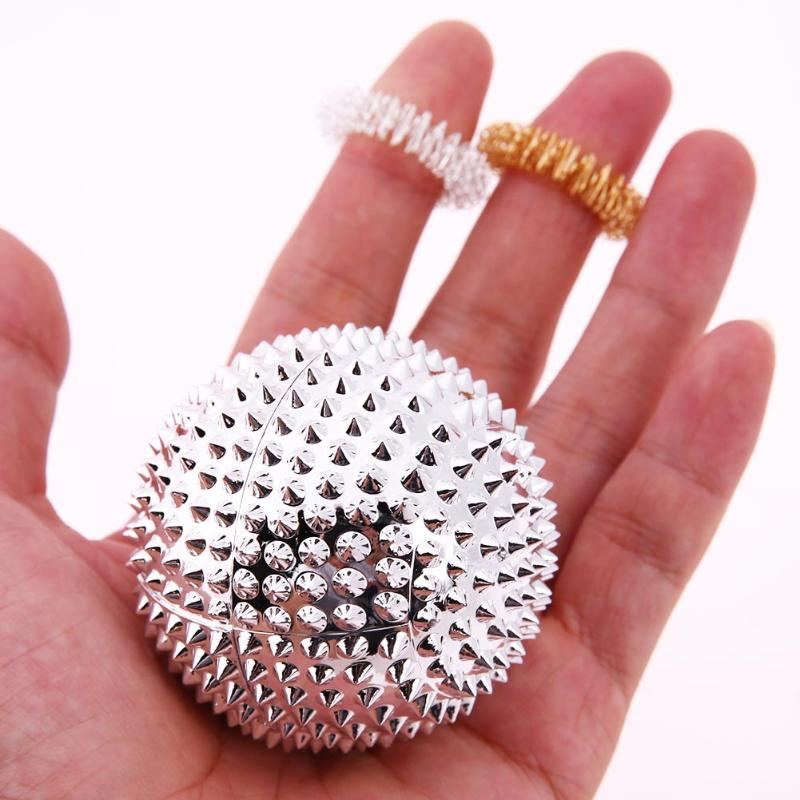 3Pcs Chinese Hand Palm Acupuncture Massage Ball with 2 Finger Massager Ring Health Care Therapy Pain Relief Massage Tool Ball excellent quality 2 rollers relax finger joints hand massager fingers massage tool random color