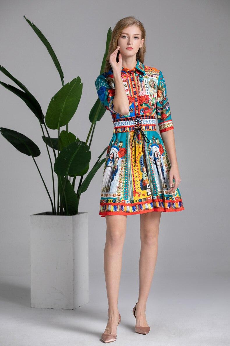 Lady Milan kobiet Runway Dress skręcić w dół kołnierz pół rękawy w stylu Vintage znaków drukowane eleganckie sukienki na co dzień w Suknie od Odzież damska na  Grupa 3